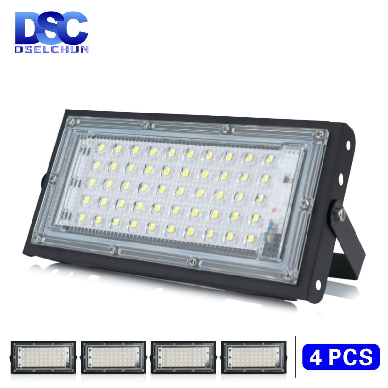 4pcs lot 50W Led Flood Light AC 220V 230V 240V Outdoor Floodlight Spotlight IP65 Waterproof LED Street Lamp Landscape Lighting