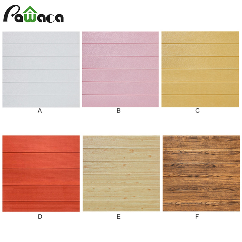 3D Wood Grain Wallpapers Waterproof Self-adhesive Foam Wallpaper DIY Brick Wall Stickers Paper Panel Wall Decals Room Home Decor