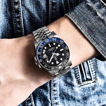 PAGANI DESIGN 40mm GMT Men's Mechanical Watches 100M Waterproof Top Brand Sapphire Glass Stainless Steel Business Men's Watch 3