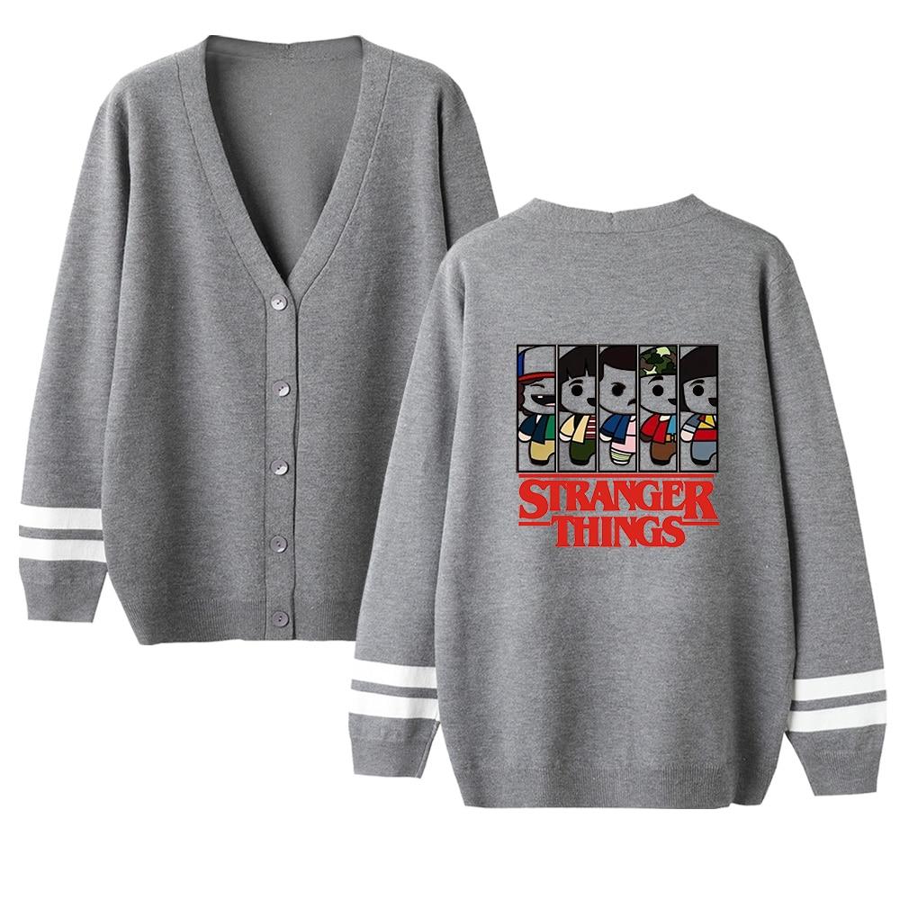 Boy's Cute Kpop Stranger Things V-neck Cardigan Sweater Men/women Pink Casual Warm Sweater Stranger Things Coats Top