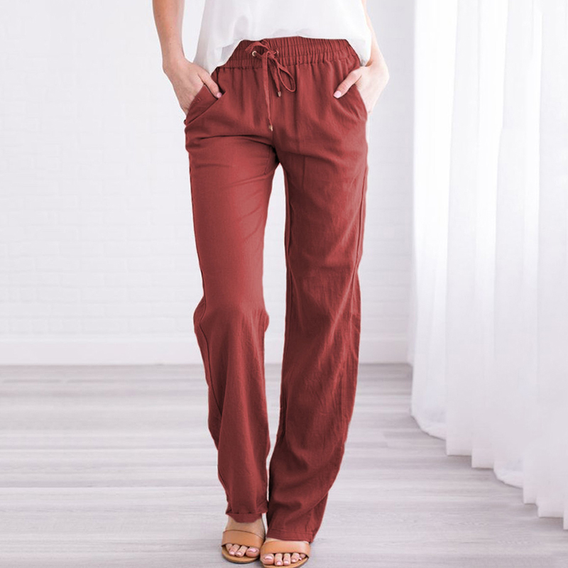 Women Loose Long Trousers Cotton Linen Drawstring Pants With Pocket 2019 Casual Wide-Leg Pants Female Autumn Training Pants