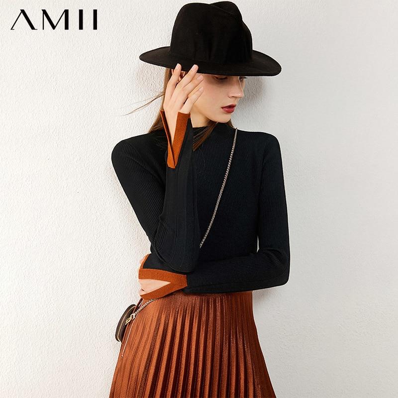Amii минимализм осенне зимний женский свитер Модный облегающий свитер с высоким воротником для женщин топы 12040780|Водолазки|   | АлиЭкспресс