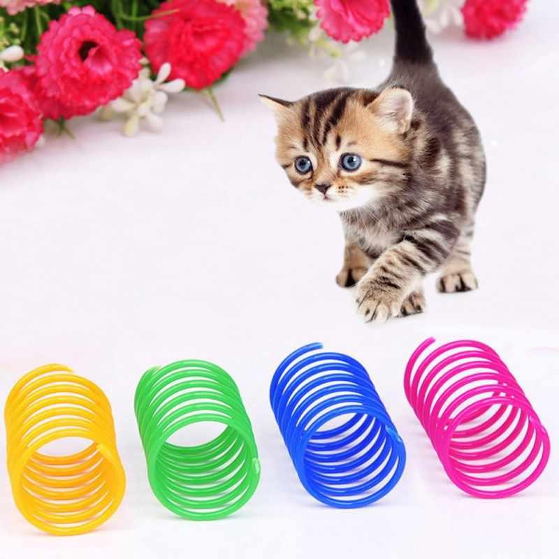 4/10 pcs/lot 플라스틱 고양이 장난감 대화 형 애완 동물 봄 장난감 고양이 고양이 터널 티저 스크래치 장난감 애완 동물 놀이 용품