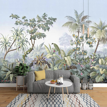 Custom Photo Wallpaper Retro Hand Painted Tropical Rainforest Banana Coconut Tree Mural Dining Room Living Room Bedroom Wall Art