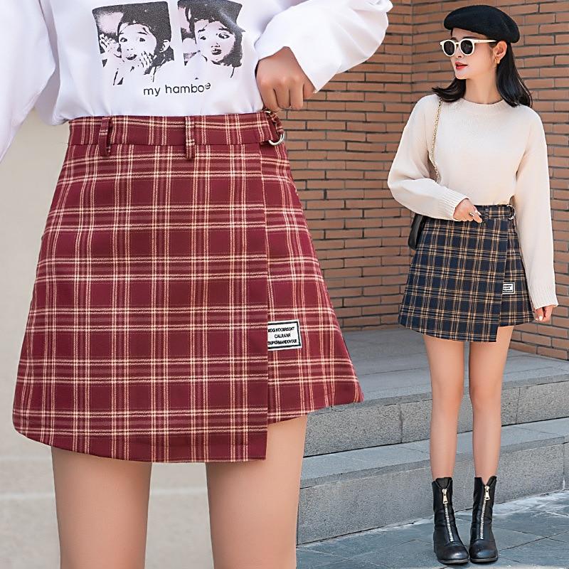 2019 Autumn And Winter New Style South Korea Sweet Sense Of Design Plaid Woolen Skirt High-waisted Slimming A- Line Short Skirt