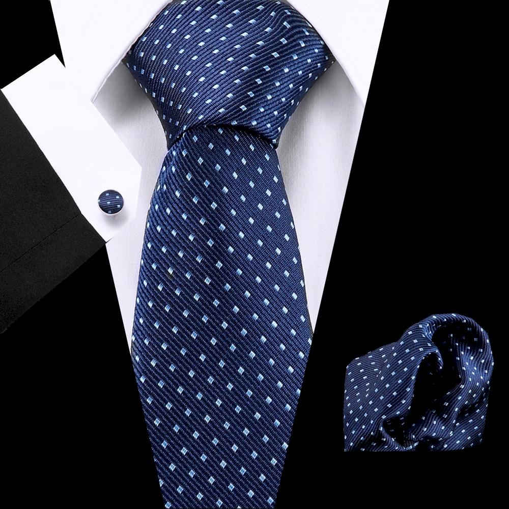 Jacquard Woven 7.5 Cm 100% Silk Mens Blue Lattic Necktie   Handkerchief Cuffink Set Business Flomal Wedding Men Classic Ties