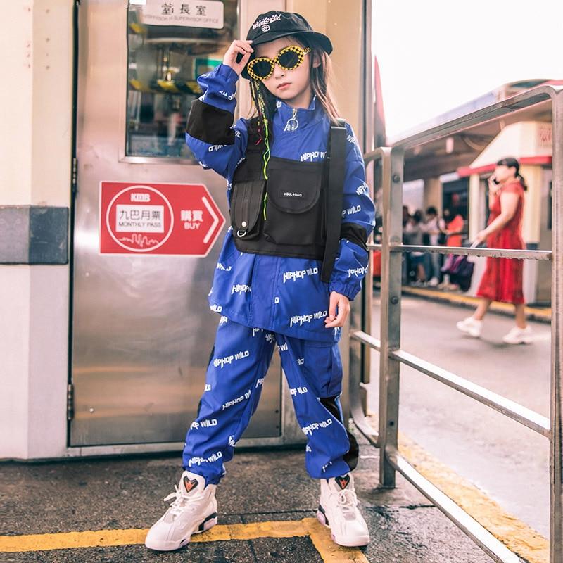 Children'S Jazz Dance Costume Girls Hip-Hop Loose Drums Tide Autumn Street Dance Costumes Catwalk Show Clothing Unisex DL4676