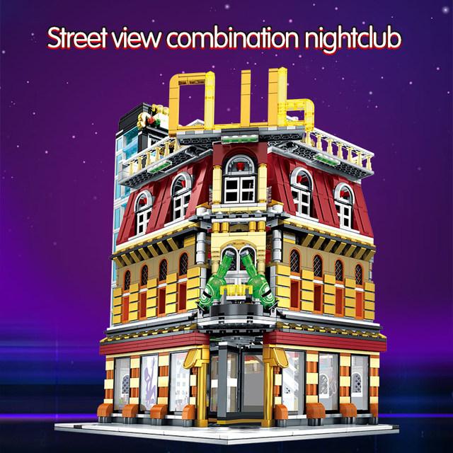 2488PCS Diy Building Blocks for City Street View Light Nightclub House Figures Bricks Education Toys for Children