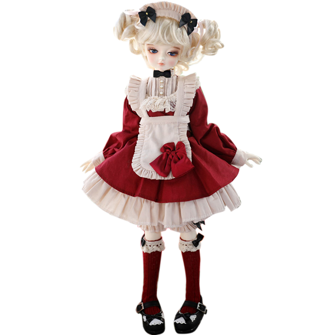 5Pcs Retro Red Maid Apron Dress Outfit  BJD Doll Girl Clothes Set For 1/3 Or 1/4 Or 1/6 BJD Doll (No Doll) DIY Dolls Accessories