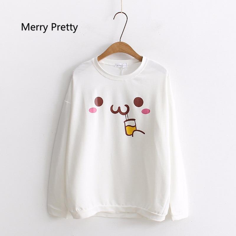 Merry Pretty Autumn Long Sleeve Sweatshirt Women Japan Style Kawaii Pullovers Cartoon Pattern Printed School Girl White Hoodies