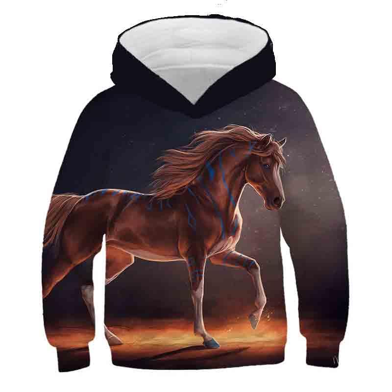 2020 outono inverno venda quente fantasia cavalo crianças meninos meninas hoodie roupas hoodie hoodies menino menina camisolas poliéster hoodied