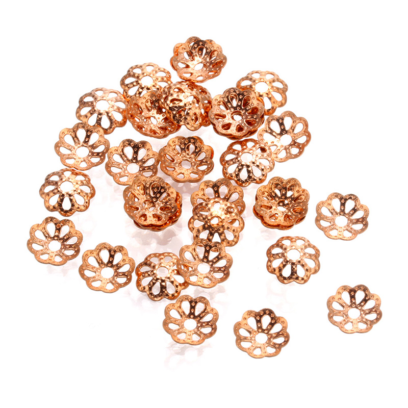 50 pcs 6mm Brass Flower bead cap silver plated Spacer Bead DIY for Jewelry Making Bracelet Findings Necklace Accessories