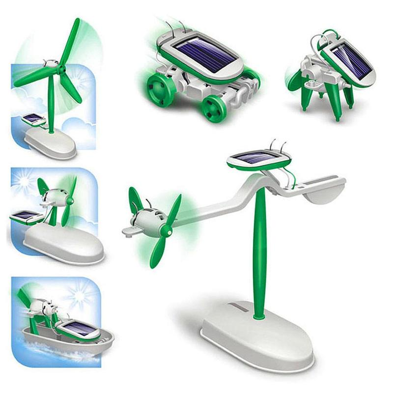Children's DIY 6 In 1 Solar Assembly Toys Kids Creative High-tech Experiment Sets Car Boat Fan Instruction Of Mounting Puzzles