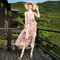 Novo verão de seda impressão com decote em v vestido sem mangas feminino estilo praia moda meados de comprimento solto férias a-line vestido S-XL