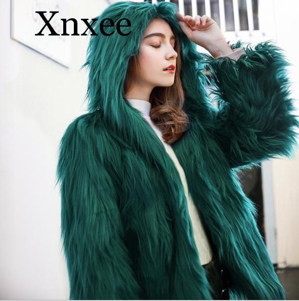 Green Purple Wine Grey Hooded Shaggy Fluffy Faux Fake Fur Jacket Coat Outerwear For Women Thermal Jackets Coats Hoodies