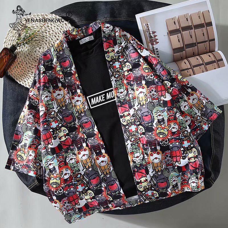 Japan Style Print Vintage Harajuku Blouse Sunscreen Cartoon Shirts Japanese Batwing Sleeve Yukata Women Couple Kimono Cardigan