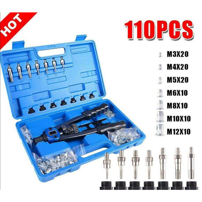 110pc/set Manual Rivet Machine / Rivet Gun Nut Tool M3-M8 Thread Nut Rivet Machine Rivet Kit