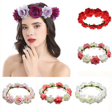 Новинка свадебный цветок корона повязка на голову интимный 26% красивый богемный пляж побег цветочные гирлянды романтика искусственный роза свадьба венок