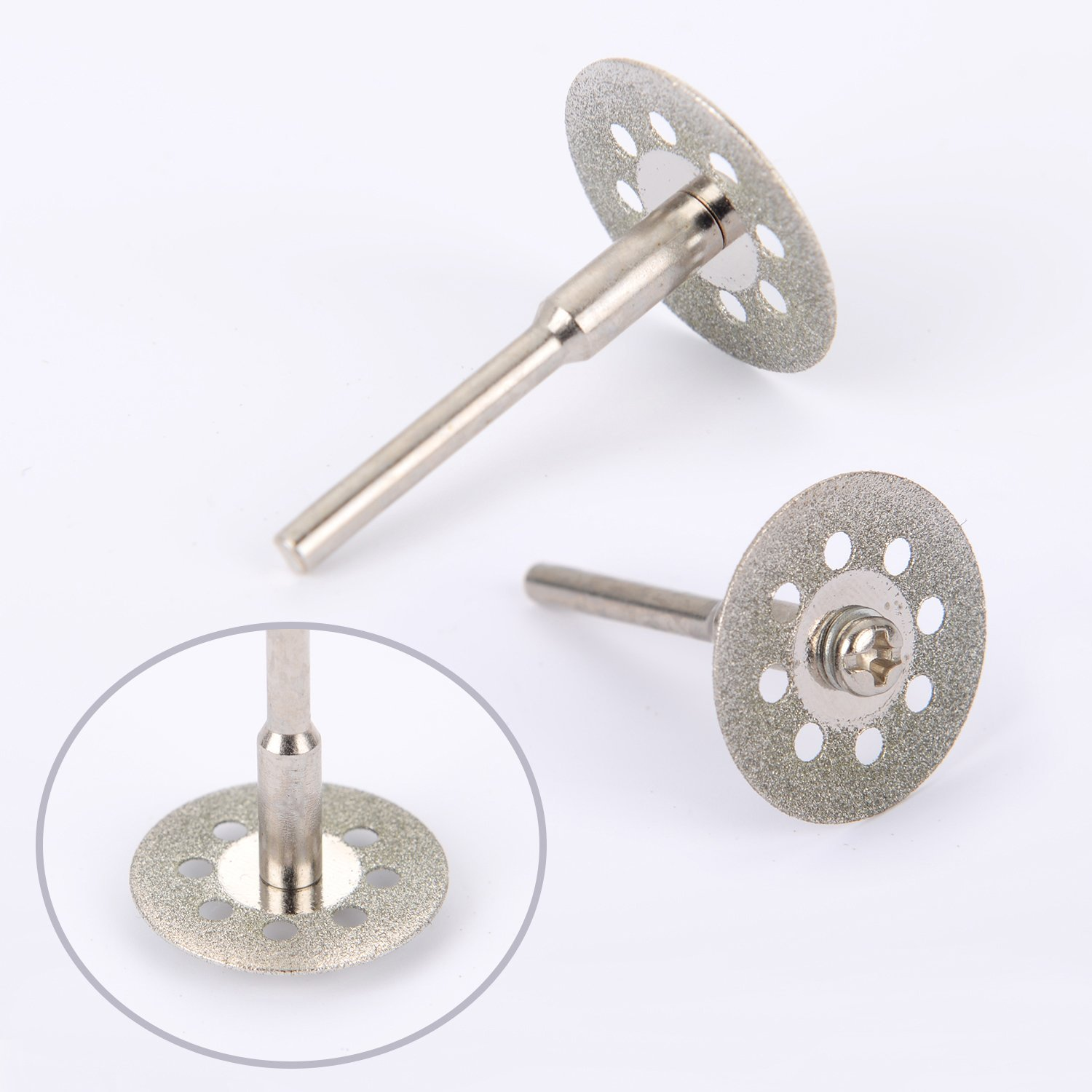10pcs/set 22mm Mini Diamond Saw Blade Silver Cutting Discs With 2X Connecting Shank For Dremel Drill Fit Rotary Tool D30