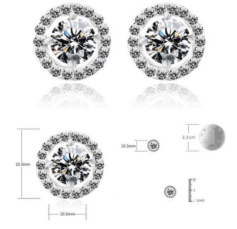 Bezpłatne wysłane certyfikat luksusowe 925 Sterling Silver 6mm małe cyrkonia diament stadniny kolczyki dla kobiet prezent na boże narodzenie E013