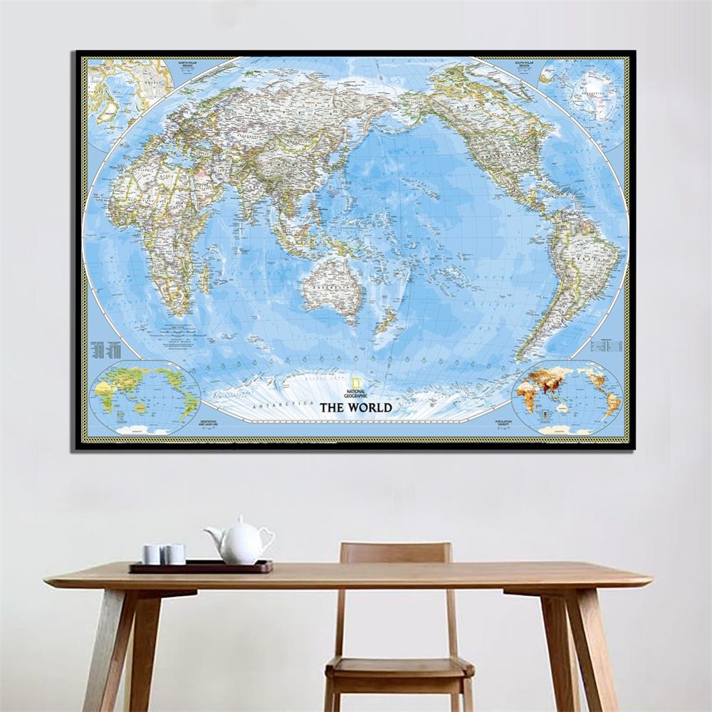 2x3ft The World Physical Map HD Spray Canvas Painting For School Office Wall Decor