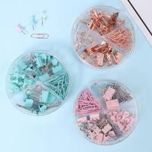 72 unids/caja Mini Clips de papel Metal 10mm colores Color caramelo Clip para libro de papelería de la escuela suministros de oficina de alta calidad