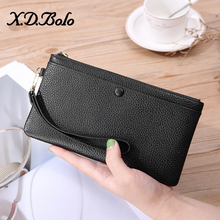 X.D.BOLO Leather Wallet Women Luxury Zipper Wallet