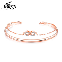 EyeYoYo Wedding Forever Infinity Bangle For Women Rose Gold Copper Endless Jewelry Bracciali Donna
