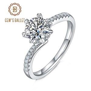 Женское Обручальное Кольцо GEM'S BALLET, обручальное кольцо из стерлингового серебра 925 пробы с бриллиантами VVS1, обручальное кольцо-Снежинка