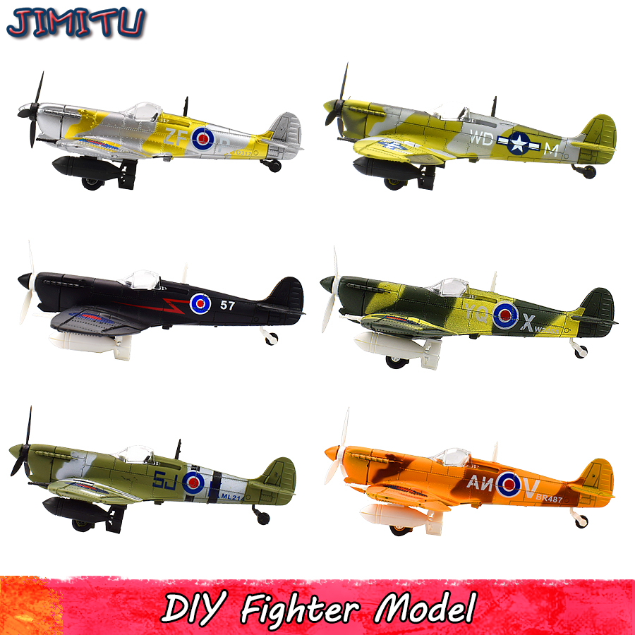 Spitfire Fighter Model Kit Toys for Children DIY Aircraft Assembly Models Kits Educational Toy Gifts for Kids 1 PCS Random Color image