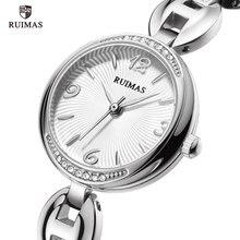 цена на RUIMAS Luxury Quartz Watches Women Silver Bracelet Elegant Wristwatch Lady Woman Waterproof Analog Watch Relogios Feminino 596
