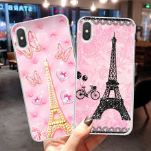 Soft Silicone Luxury Phone Case  For iPhone xr 6 6S Plus SE XS 9-Pattarn Eiffel Tower Transparent 8 7 Cover