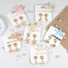 1Set Starfish Shell Conch Imitation Pearl Hair Clips&Earrings Set Golden Metal Earrings Ladies Beach Fashion Jewelry