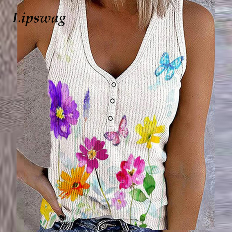 90s Vintage Flowers Print Button V-Neck Tank Tops Women Casual Sleeveless Vest Shirt 2021 Summer Lady Elegant Fashion Streetwear