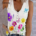 90s Vintage Flowers Print Button V-Neck Tank Tops Women Casual Sleeveless Vest Shirt 2021 Summer Lady Elegant Fashion Streetwear
