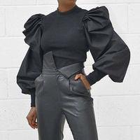 Пышная женская блузка с оборками и длинным рукавом 2020, модная однотонная черная белая розовая рубашка, топы, футболки для девушек, тонкий дж...