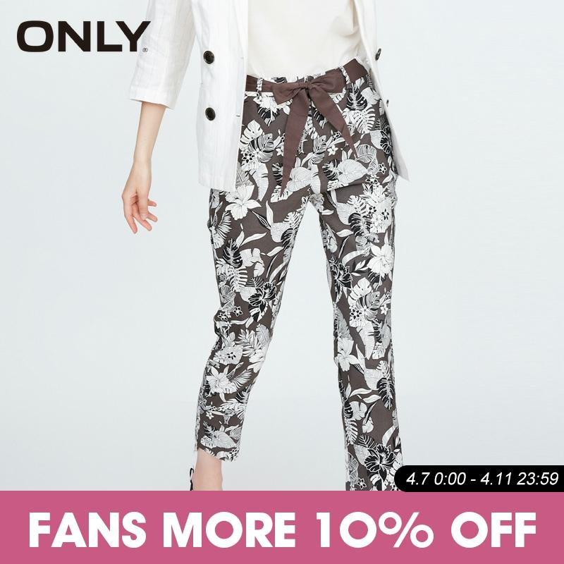ONLY Irregular Thin Straight Floral Nine Points Pants | 11836J502