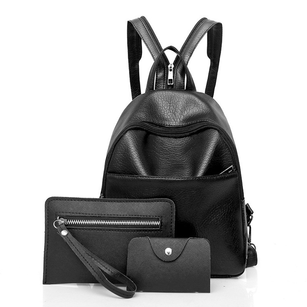 Women Three Sets Fashion Backpack Shoulder Bags Backpacks Bags Clutch Leather 3 Piece Backpack Purse Teenager School Girls