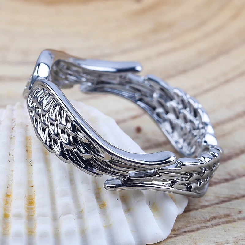 Exclusive Silver Plated Angel Wings Ring For Men Women Gothic Steampunk Party Anniversary Ring Adult Unisex Jewelry Gift H4T739 10