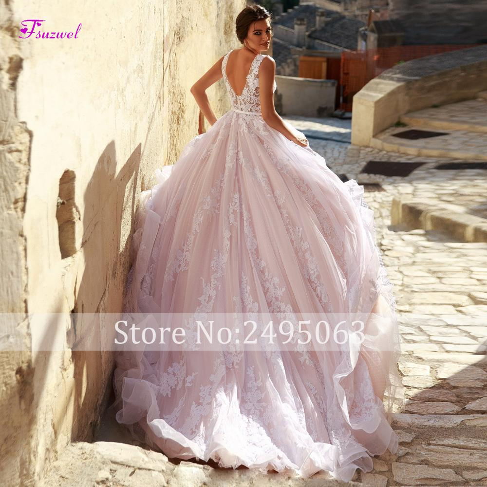 Image 2 - Fsuzwel New Arrival Sexy V Neck Backless A Line Wedding Dresses 2019 Gorgeous Appliques Sweep Train Bridal Gown Vestido de Noiva-in Wedding Dresses from Weddings & Events