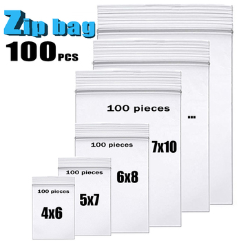100pcs/pack Thick Clear Zip Lock Bags ziplock Food Package Storage Bag Small Jewelry Plastic Reclosable Poly Zip Bags Heavy-Duty image