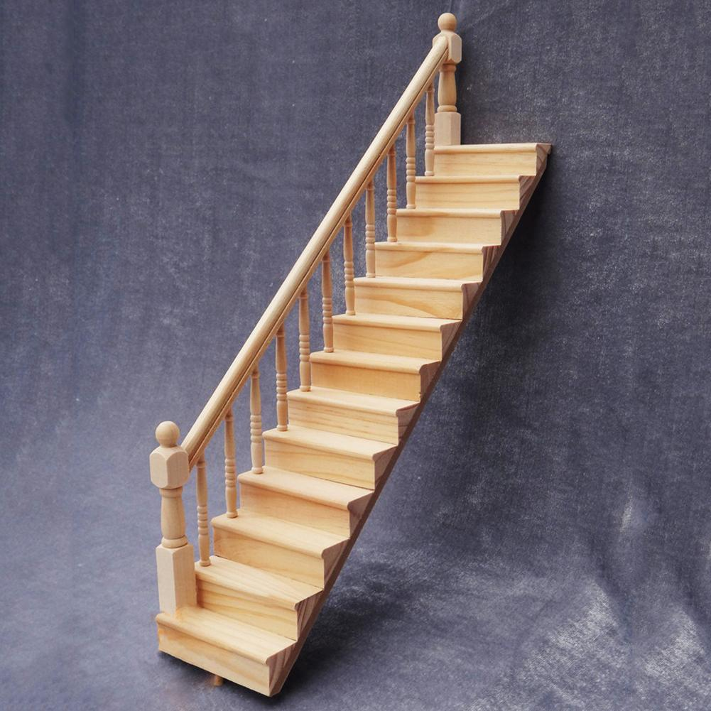 1/12 Wooden Stair Stringer Step Staircase With Handrail Model Doll House Decor Kids Educational Toys