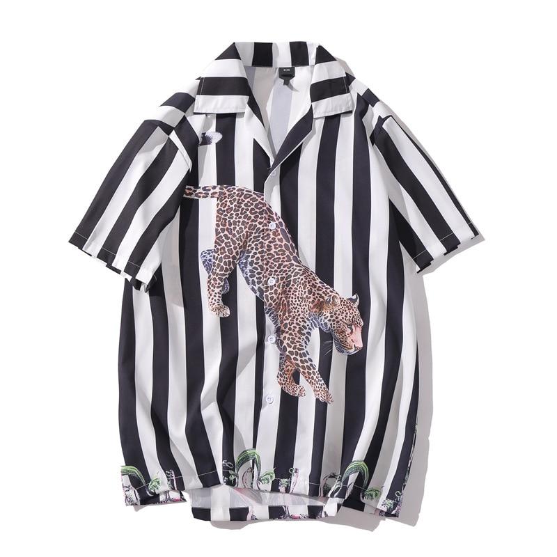 Stripe Tiger Women Blouse Korean Short Sleeve Feminina Streetwear Shirts Loose Button White Clothes Kawaii Girl Summer Tops