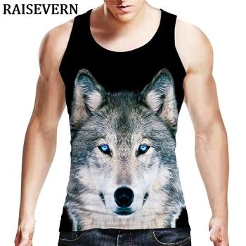 3D Wolf Print Sleeveless Men Pullover Tank Top Casual Loose Harajuku Streetwear Vest Fashion Hip Hop Tops Plus Size