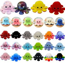 Cute Soft Simulation pulpo reversible toys Doll Kids Emotional Epression Double-sided Flip Plush Toy Children Birthday Gift