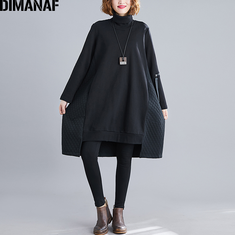 DIMANAF Winter Oversize Women Pullover Lady Tops Solid Hoodies Sweatshirts Cotton Turtleneck Loose Plus Size Female Clothing New