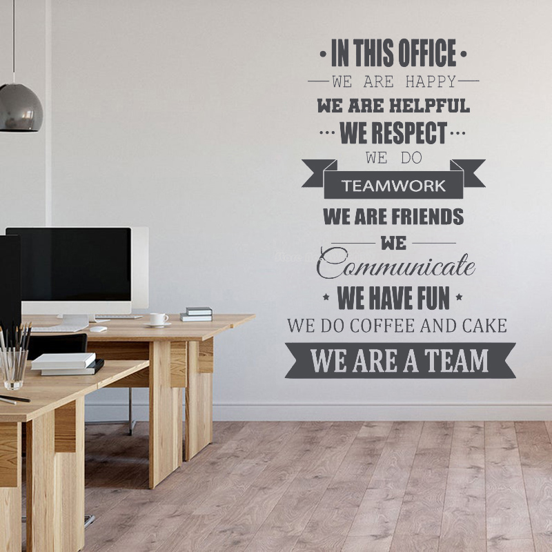 In This Office Wall Decals Teamwork Quote Wall Stickers Office Mural Inspire Office Motto Motivation Idea Wall Art Decor Ll826 Best Deal B0e56 Cicig