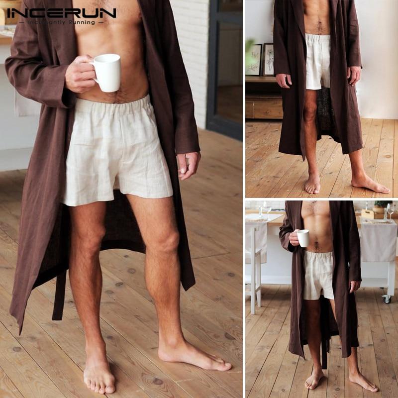 INCERUN Mens Shorts Loose Solid Color Breathable Short Man Cotton Sleepwear Bottoms Men Beavh Elastic Waist Vintage Trousers 3XL