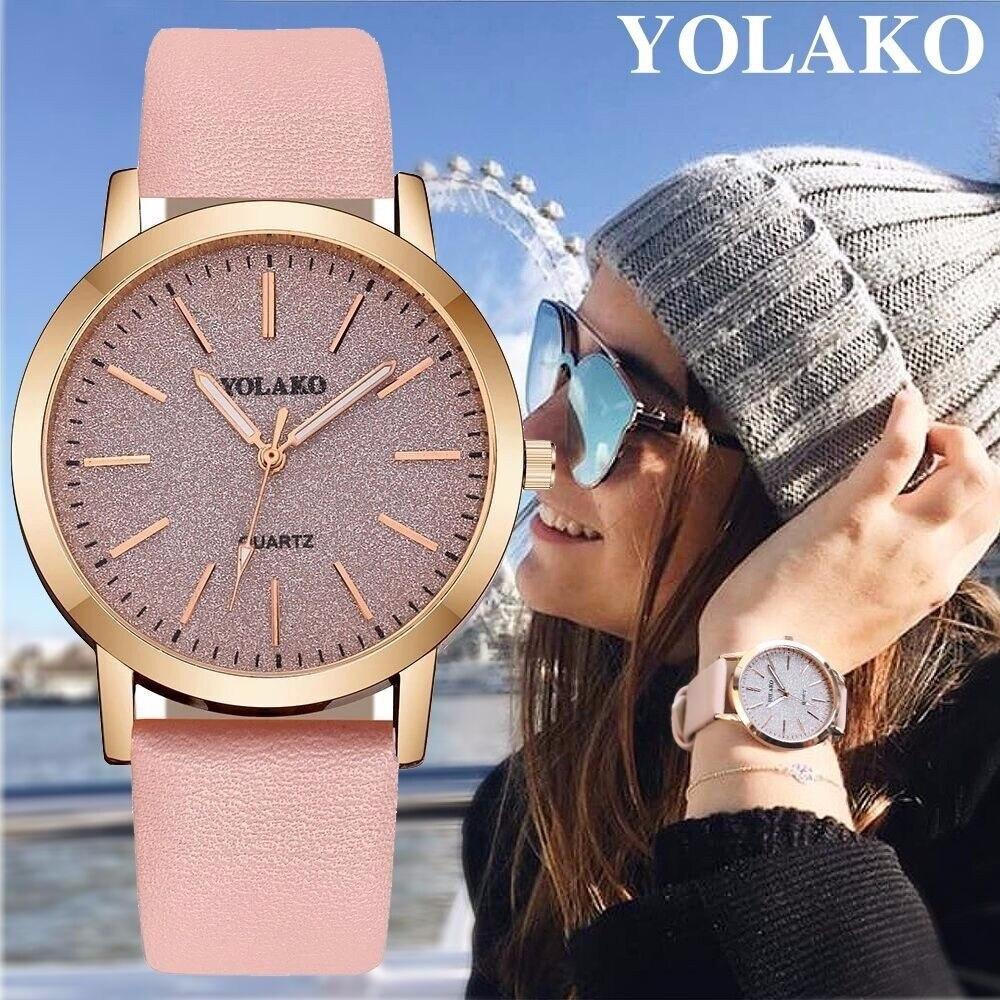 Reloj de cuero de marca de YOLAKO reloj de lujo de diamantes de imitación reloj femenino de moda relojes de mujer romántico reloj de estrella ocio Choucong 22 estilos de lujo Cruz colgante AAAAA Cz 925 collar de plata esterlina colgante de Cruz para Mujeres Hombres fiesta boda joyería
