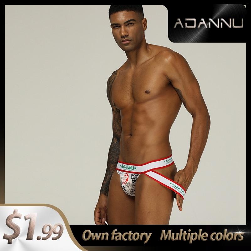 Fashion Spandex Low Waist Gay Men Sexy Underwear Thong Men Jockstrap Solid Man Thong Mens Thongs And G Strings Top AD302